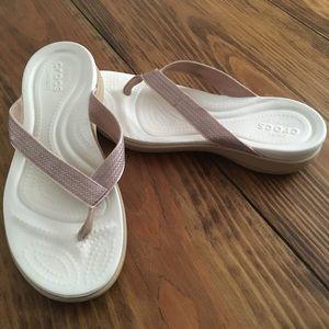 Crocs Capri V Sequin Pink/White Flip Flops Sandals